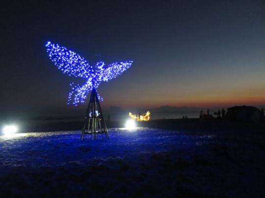 ライトアップされたイベントのシンボルアート「フェニックス」!