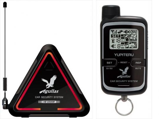 停止板のようなおにぎり型のカーセキュリティと懐かしのポケベルを思わせる液晶リモコン