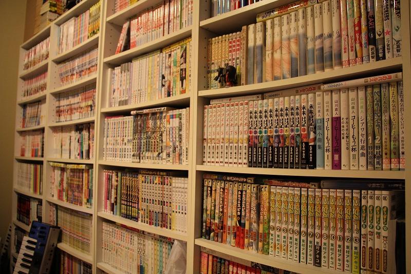 壁一面に5つもの本棚が並ぶ