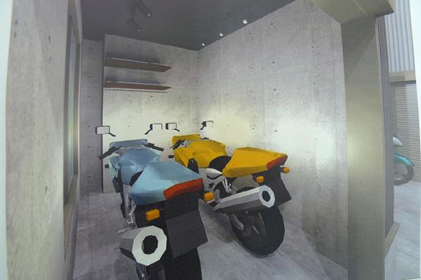 ビルトインガレージ バイク置場