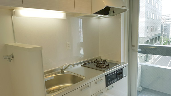 システムキッチンには広いシンクと二口コンロで料理もはかどる