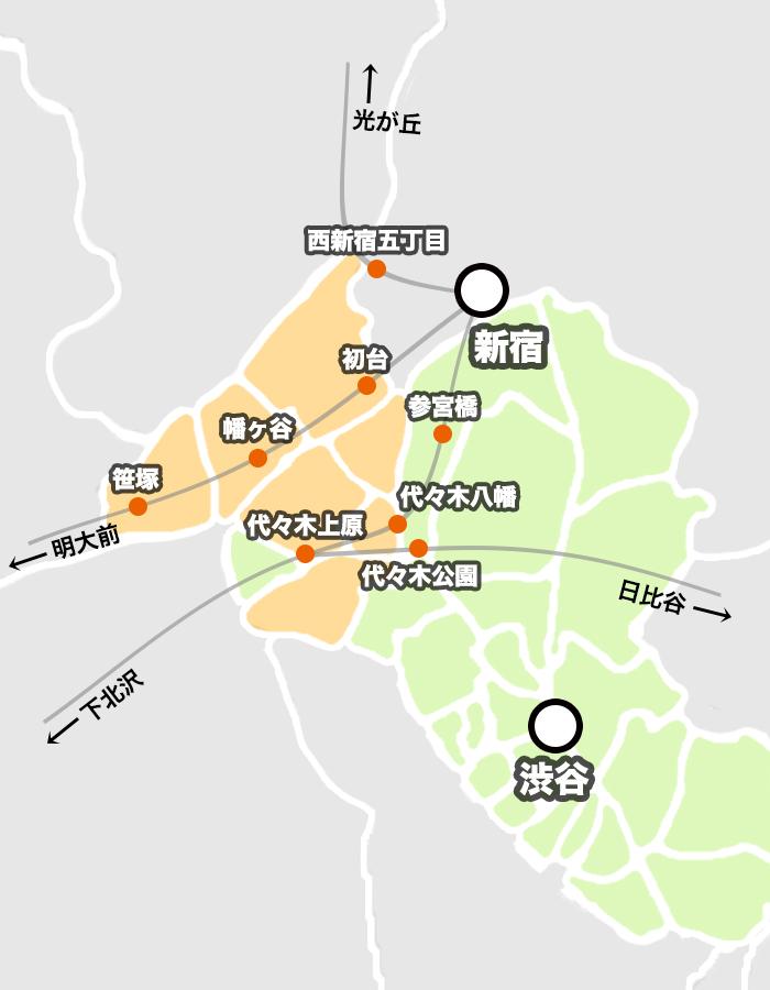渋谷区の街の新宿駅・渋谷駅へのアクセス