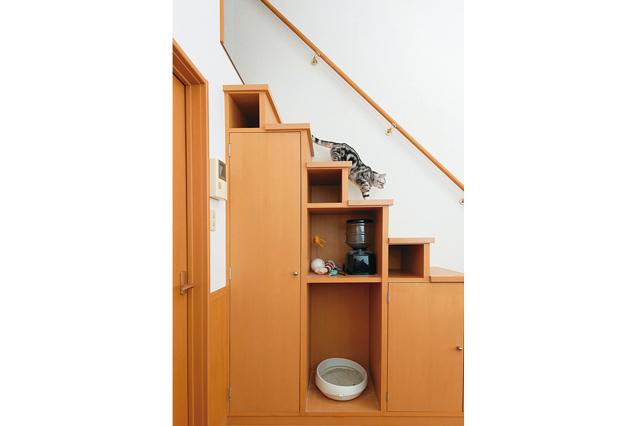 ロフトへ上る階段は収納を兼ねている。猫の運動スペースにもなる