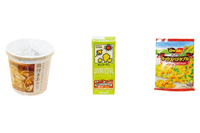 味噌汁に豆乳とミックスベジタブルを加えて和風豆乳チャウダー