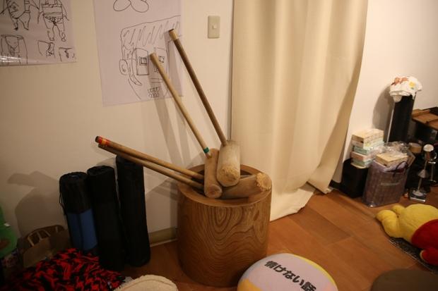シェアハウスのイベントで使われたという杵と臼
