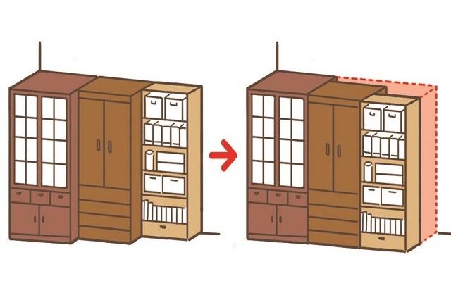 手前側のラインを意識して家具の凹凸をなくそう