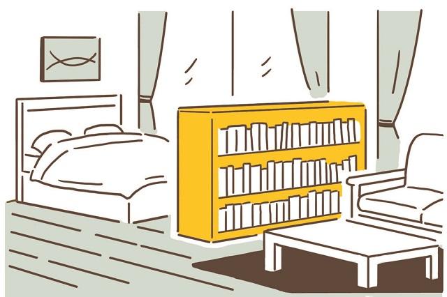 家具の配置を変えるだけでスペースを仕切ることができる