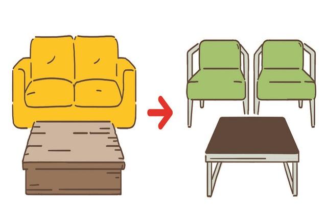 イスならば背板が板状のものより、桟状のようなすらりとした細めラインの家具を選ぶとよい