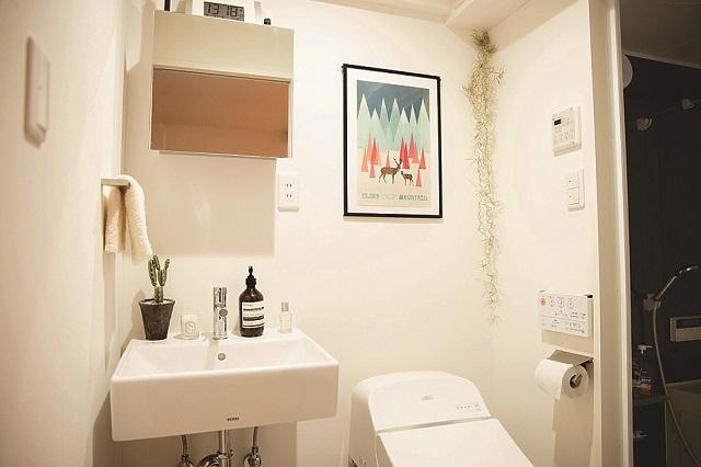 小物を取り入れながらもすっきりと清潔感のある洗面トイレ|【インテリアコーディネート術】部屋をくつろぎの空間に!モデルの1Rレイアウト実例