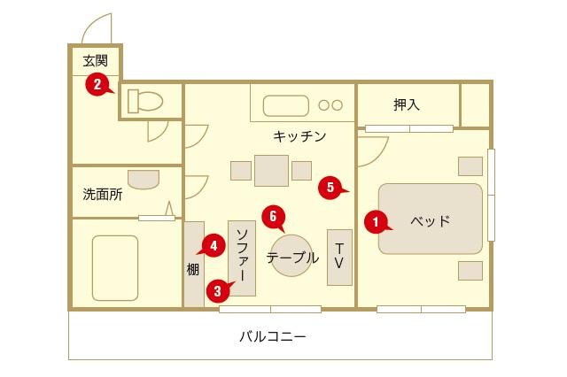 ライフオーガナイザーのこずこずさんが住むのは、リビングの奥が寝室になっているタイプの1LDKの賃貸物件|【インテリアコーディネート術】1LDKで二人暮らし!シンプルかつ居心地のよいレイアウトとは?