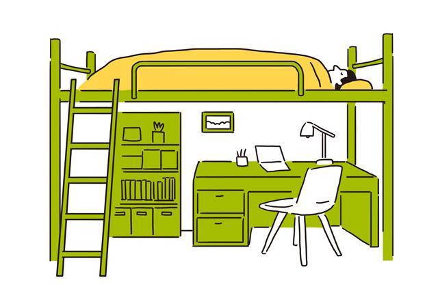 面積をあまりとらないロフト式ベッドなら、生活空間を広く使うことができる|【間取り解説】ワンルームとは? メリット&デメリットと狭くても快適に過ごすワザ