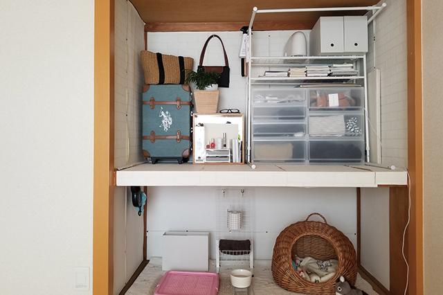 部屋には、タンスなどは置かず、押し入れのふすまを外して小さなカラーボックスを置いた。下段は愛犬のベッドスペースに シンプルライフで快適な一人暮らし。愛犬と一緒に住む女性ミニマリストに聞いた「持たない暮らし」を続けるコツ