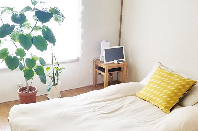 シンプルなベッドを配置した寝室は、大きめの観葉植物と黄色いクッションがアクセントに。ベッドサイドには小さなテレビが シンプルライフで快適な一人暮らし。愛犬と一緒に住む女性ミニマリストに聞いた「持たない暮らし」を続けるコツ