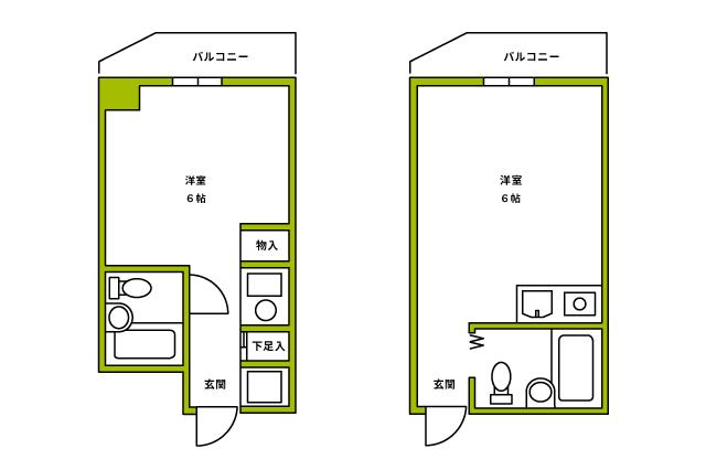 間取図に「6帖」とされていても、ワンルームでは廊下やキッチンを含んだ広さであるということを忘れずに|【間取り解説】ワンルームとは? メリット&デメリットと狭くても快適に過ごすワザ