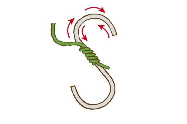 すでに巻いてある毛糸に接着剤が染みているので、戻る時は塗らなくてOK|S字フックも「もこもこフック」にアレンジ!|【賃貸DIY】100均ワイヤーハンガーをおしゃれにリメイク!もこもこハンガーの作り方