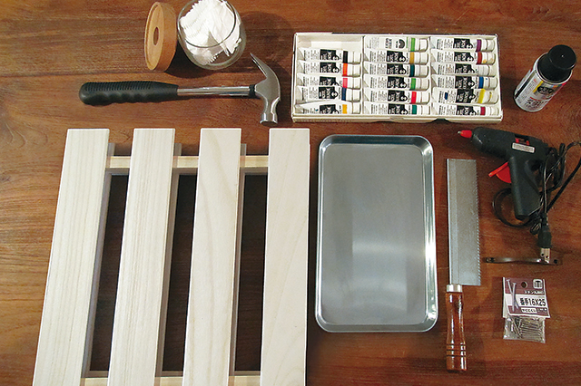 すのこ、ステンレストレー、取っ手、好みの絵の具などを使って、ケーブル収納ボックスを作ろう!|【賃貸DIY】100均グッズで簡単&おしゃれなケーブル収納ボックスを自作しよう!