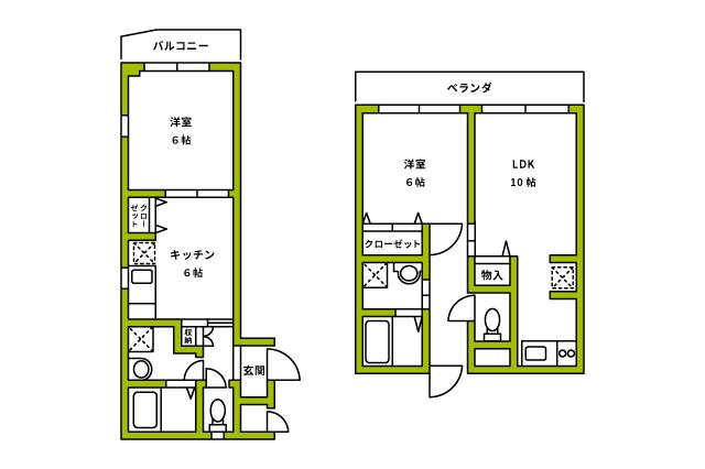 左が1DK、右が1LDKの間取り1DKと1LDKはキッチンが広いことが多く、二人暮らしが可能な物件もあるのが特徴だ