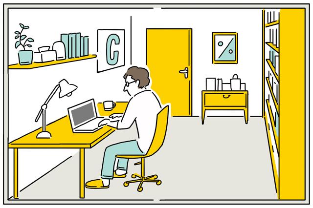 一部屋をフリースペースにすることで、二人暮らしでも読書や作業に集中できる