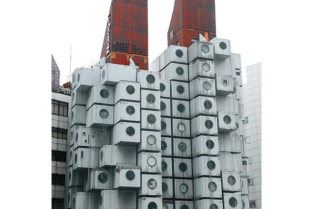 歴史的デザイナーズ物件「中銀カプセルタワービル」の外観