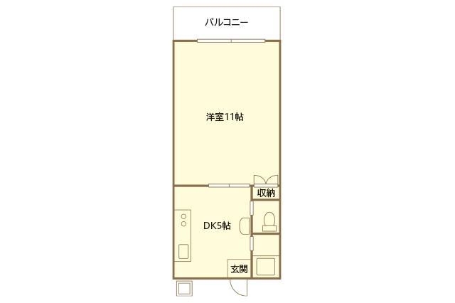 二人暮らし中の浦田さん夫婦が住む1DKの間取図