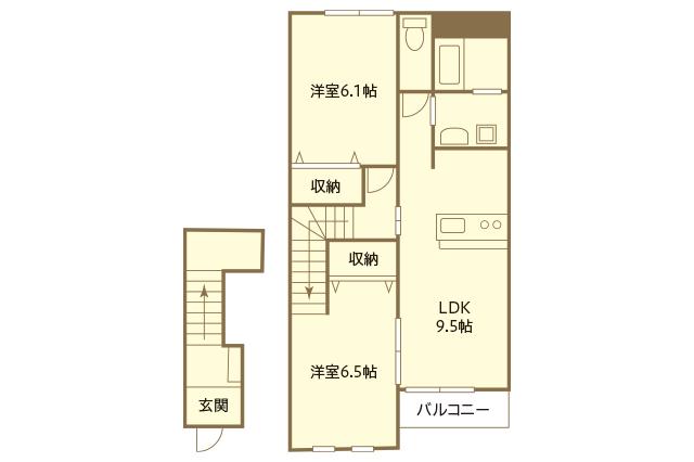 鈴木さん夫婦が2人暮らしをしている2LDKの賃貸物件の間取図