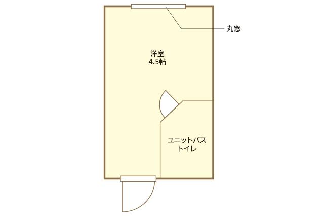 歴史的デザイナーズ物件「中銀カプセルタワービル」の間取図。洋室4.5畳、ユニットバスの1Rがテンシャンさんの部屋の間取り