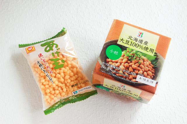 あげ玉(東洋水産)と納豆(セブンイレブン)