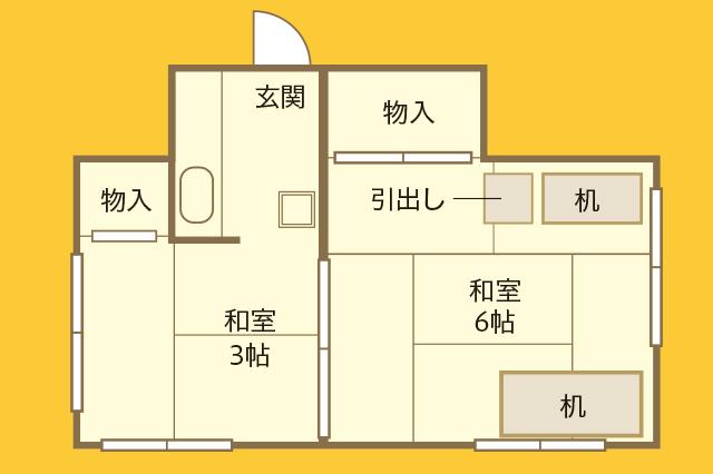 漫画家・じぇんじぇんさんが住む中野駅徒歩5分の賃貸物件の間取図