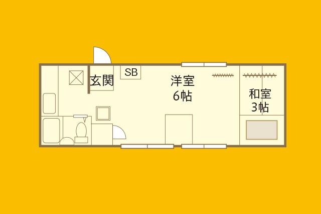 sundayzfantasyさんが住む賃貸物件の間取図。洋室6帖、和室3帖にキッチン、3点ユニットバスがある