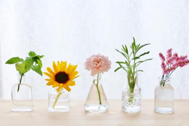 グラスに入った花々