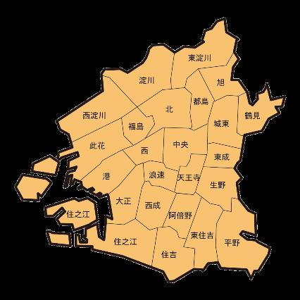 大阪市24区の位置はこのようになっている