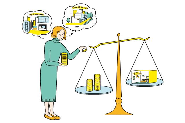 コストとパフォーマンスを見比べる女性のイラスト