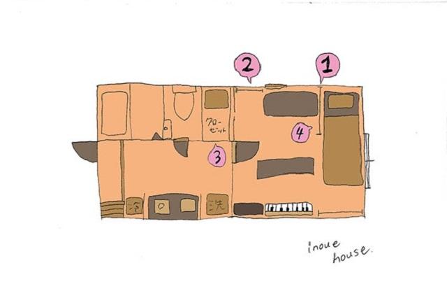 代々木八幡にある井上さんが住んでいる賃貸物件の間取図