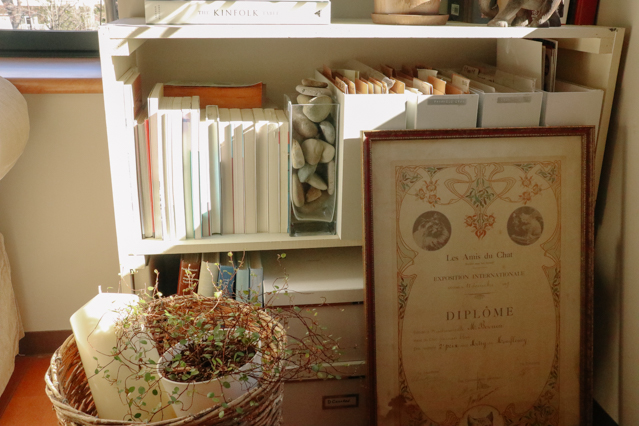 背表紙を後ろにして収納されているヘザーさん宅の本棚。こうすることで、本棚の色を統一している