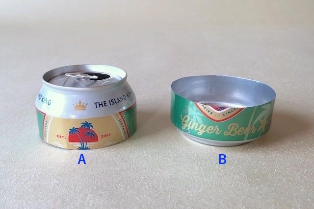 防災アイテム・アルミ缶コンロの作り方の工程:アルミ缶をカットした様子