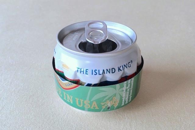 防災アイテム・アルミ缶コンロの作り方の工程:アルミ缶BにくぼみをつけたAを重ねた様子