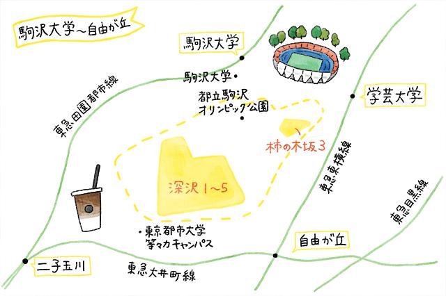 自由が丘のイラストマップ