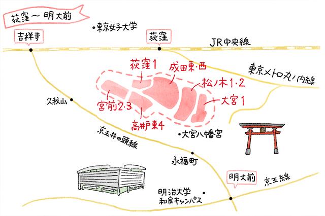 荻窪のイラストマップ