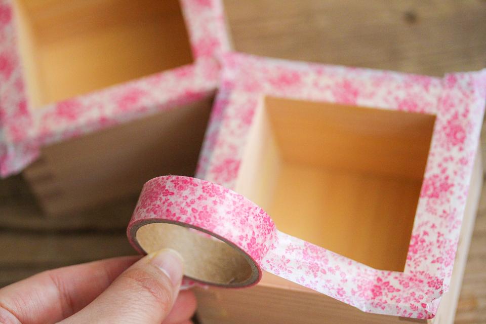 マスキングテープで枡のふちをカバー