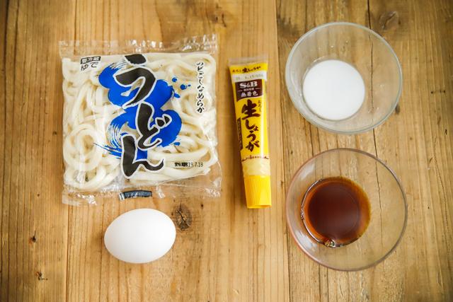 レンチンしょうが卵とじうどんの材料