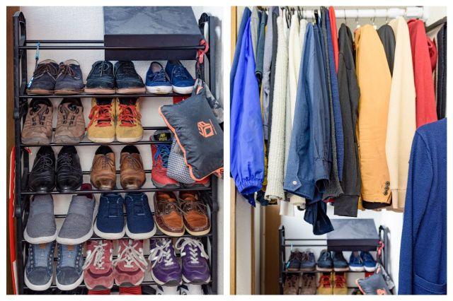 玄関の壁一面の靴箱(左)とその上の空間を使った洋服スペース(右)