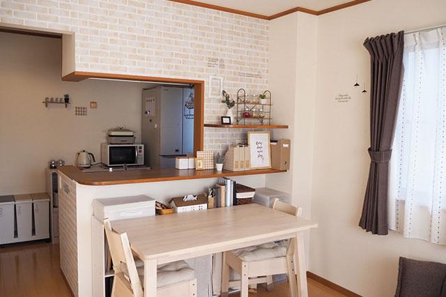 【二人暮らしの家事分担】二人暮らし中のむくりさん夫妻宅のカウンターキッチン