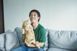 森田さんと会長(猫)