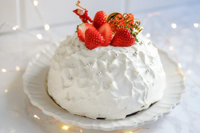 【オーブン不要】不器用さんでもかわいく作れる!超絶キュートなクリスマスの「スノードームケーキ」の裏技レシピ:完成したクリスマスケーキ